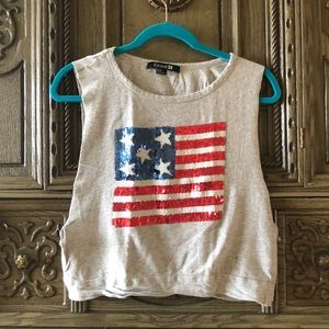 American Flag Red White and Blue Cropped Tank